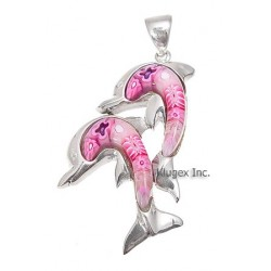Sterling Silver Murano Glass Double Dolphin Pendant