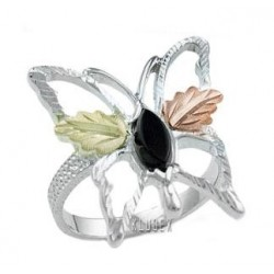 Black Hills Sterling and 12K Gold Butterfly Ring with Onyx