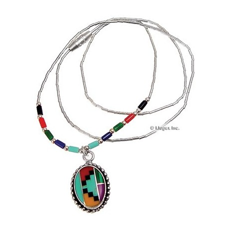 Liquid Sterling Silver Necklace W/ Inlay Pendant