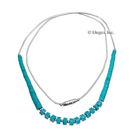 Liquid silver & Turquoise Necklace