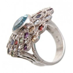Sterling Silver Ring W/ Multi Stone Size 6