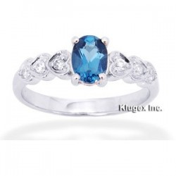 Sterling Silver Ring W/ Topaz Size 6