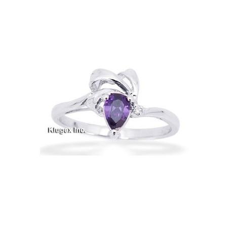 Sterling Silver Ring W/ Purple Cubic Zirconia Size 8