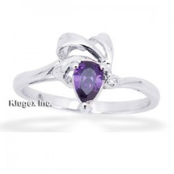 Sterling Silver Ring W/ Purple Cubic Zirconia Size 6