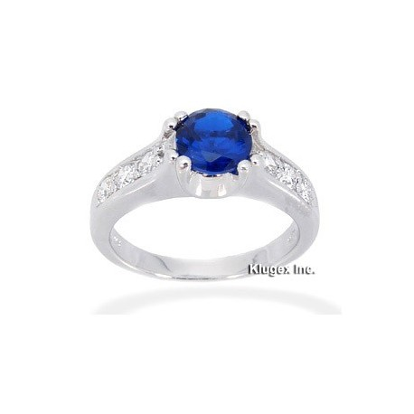 Sterling Silver Ring W/ Blue Spinel Size 8