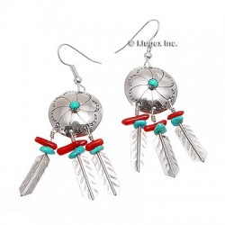 Sterling Silver Turquoise & Coral Earrings