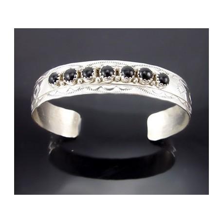 Sterling Silver Cuff Bracelet w Onyx