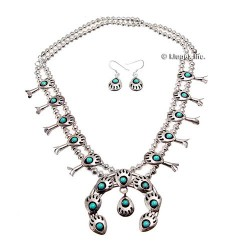 Sterling Silver & Turquoise Necklace & Earrings
