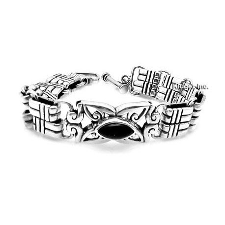 Sterling Silver Bracelet With Onyx