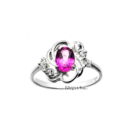 Sterling Silver Ring With Pink Topaz Size 7