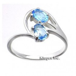 Sterling Silver Ring With Blue Topaz Size 8