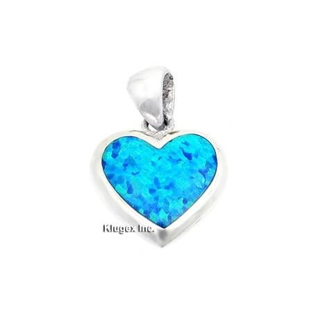 Sterling Silver Heart Pendant W Opal
