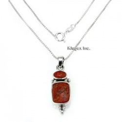 Sterling Silver Coral Pendant With Chain