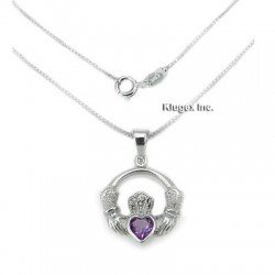 Sterling Silver Pendant With Amethyst and Chain