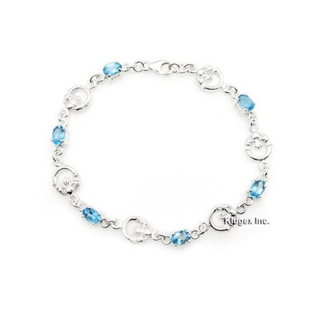 Sterling Silver Bracelet With Blue Topaz