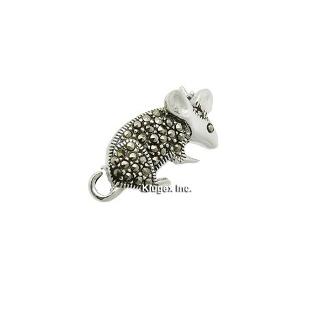 Sterling Silver Marcasite Mouse Pin