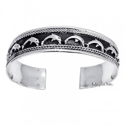 Sterling Silver Cuff Bracelet with Dolphin