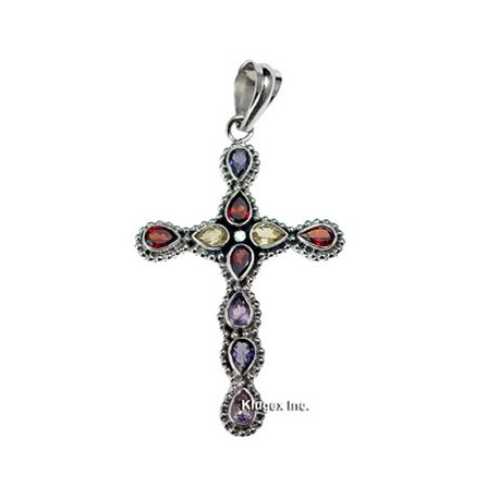 Sterling Silver Cross Pendant with Gemstones