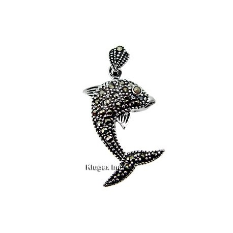 Sterling Silver Marcasite Dolphin Pendant