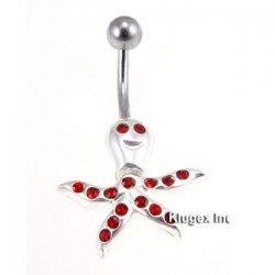 Sterling Silver Octopus Belly Piercing with CZ