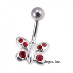 Sterling Silver Butterfly Belly Piercing