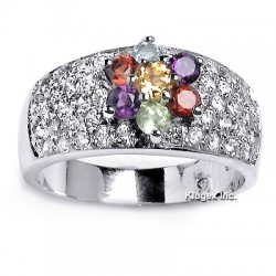 Sterling Silver Ring With Gemstones and CZ