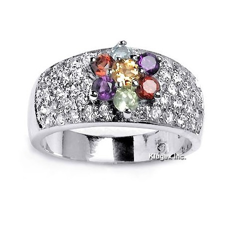 Sterling Silver Ring With Gemstone & CZ Size 7