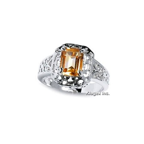 Sterling Silver Ring With Citrine Size 8