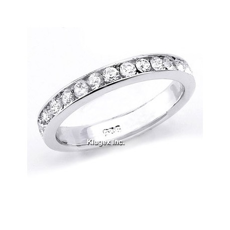 Sterling Silver White CZ Band Ring Size 7