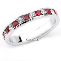 Sterling Silver Red and White CZ Ring