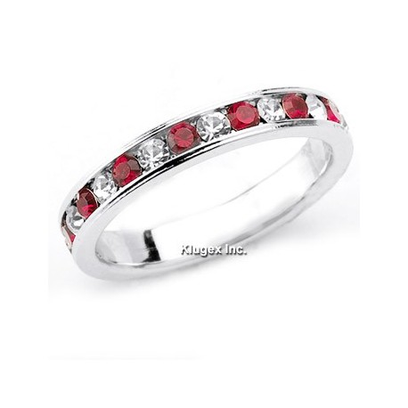 Sterling Silver Red & White CZ Band Ring Size 5