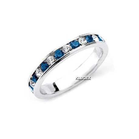 Sterling Silver Blue & White CZ Band Ring Size 7