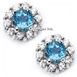 Sterling Silver Post Earrings With CZ