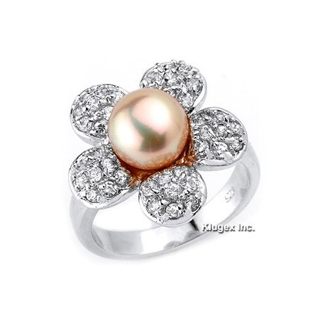 Sterling Silver Flower Ring With Pearl & CZ Size 5