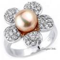 Sterling Silver Flower Ring With Pearl