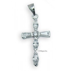 Sterling Silver Cross Pendant With Cubic Zirconia