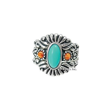 Southwest Sterling, Turquoise & Coral Ring Set Size 7