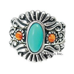Southwest Sterling Turquoise & Coral Ring Set Size 6