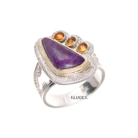 Sterling Silver & 14k Gold Sugalite & Citrine Ring Size 9