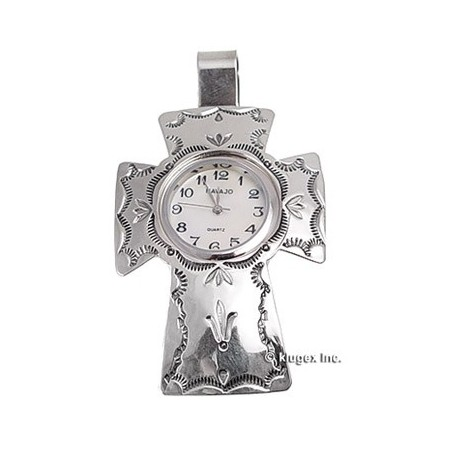 Sterling Silver Cross Watch Pendant
