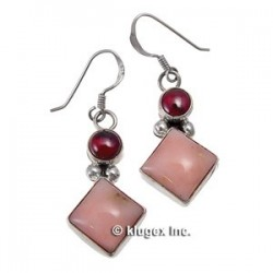 Southwest Sterling Garnet & Peruvian Opal Earrings
