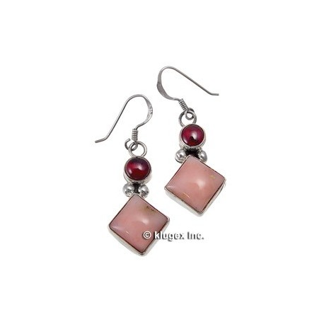 Southwest Sterling, Garnet & Peruvian Opal Earrings