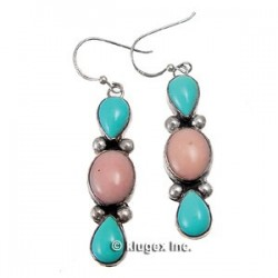 Southwest Sterling Turquoise & Peruvian Opal Earrings