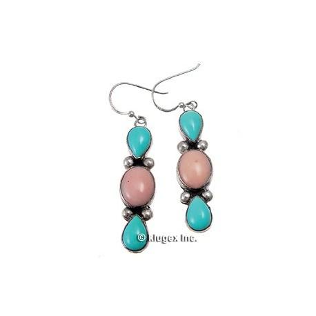 Southwest Sterling, Turquoise & Peruvian Opal Earrings
