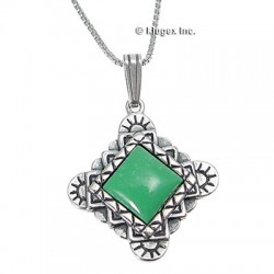 Southwest Sterling & Green Tuquoise Pendant on Chain