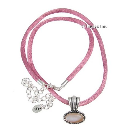 Sterling Pink MOP on Satin Cord Pendant Necklace