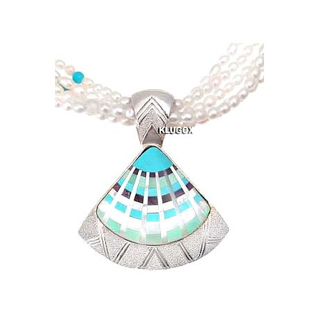 CP Signature Sterling, Pearl Fan Inlay Pendant Necklace