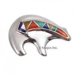 Sterling Silver Mosaic Inlay Spirit Bear Pin
