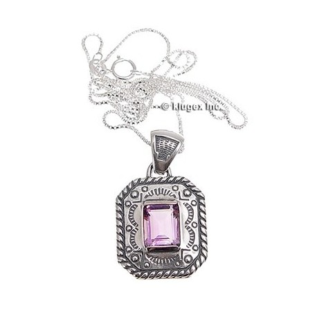 Sterling Silver & Amethyst Octagon Pendant W/ Necklace