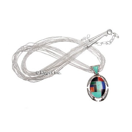 Liquid Silver & Channel Inlay Necklace